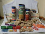 Three 3 Vintage Tinkertoy Sets By Spalding And Questor With Original Canisters