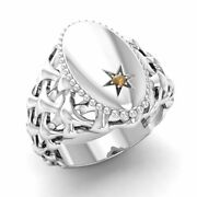 Certified 0.01 Ct Natural Round Brown Diamond Signet Mens Ring In 14k White Gold