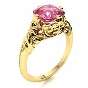 Vintage Art Deco Cushion Natural Pink Tourmaline 14k Yellow Gold Solitaire Ring