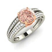 1.17 Ct Certified Morganite And Real Diamond 14k Solid White Gold Engagement Ring