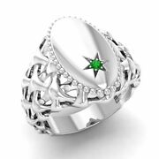 Certified 0.01 Ct Natural Round Emerald Signet Menand039s Ring In 14k White Gold