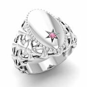 Certified 0.01 Ct Real Round Pink Tourmaline Signet Menand039s Ring In 14k White Gold
