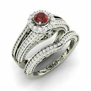 Certified 1.47 Cts Garnet And Real Diamond 14k White Gold Halo Bridal Ring Set