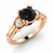Certified 1.20 Ct Black And Si Diamond 14k Rose Gold Sidestone Engagement Ring