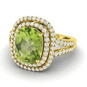 August Birthstone 4.74 Ct Certified Peridot And Gh-si Diamond 10k Yellow Gold Ring