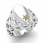 Certified 0.01 Ct Natural Round Citrine Signet Menand039s Ring In 14k White Gold