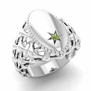Certified 0.01 Ct Natural Round Peridot Signet Menand039s Ring In 14k White Gold