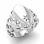 Certified 0.01 Ct Natural Round White Topaz Signet Menand039s Ring In 14k White Gold