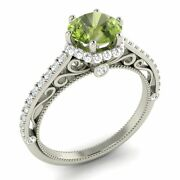 Certified 1.41 Ct Peridot And G/si Diamond 14k White Gold Halo Engagement Ring