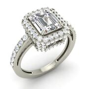 Emerald 2.27 Ct Certified White Topaz And Diamond 14k White Gold Engagement Ring