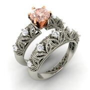 Certified 0.75 Cts Morganite And Diamond 14k White Gold Engagement Bridal Set Ring