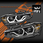 Black Real Led Drl Head Lights For Bmw 3 Series F30 F31 12-15 Halogen Type Only
