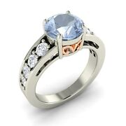 Certified 2.53 Cts Real Aquamarine And Si Diamond Vintage Look 14k White Gold Ring