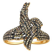 Natural Diamond Pave Feather Ring Solid 18k Yellow Gold Antique Jewelry