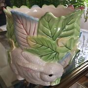 Rare New Le Lapin Fitz And Floyd Classics Rabbit Easter Bunny Planter Cache Pot