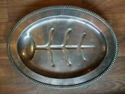 Sheffield Silver Co. Silver Plate Footed Well Oval Meat Serving 16 Tray Platter