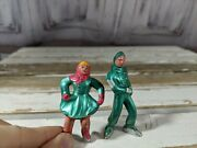 Barclay Metal Village Skaters Male And Female Figure Lead Toy People Home Xmas Hol