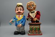 Lot Of 2 Vintage Drinking Sailor Barman Japan Tin Animated Toy As Is Untested