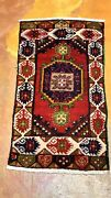 Vintage 1940-1950and039s Turkish Tribal Bohemian Area Rug 1andrsquo7andrdquox 3andrsquo1andrdquo