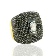 14k Gold Sterling Silver Natural Diamond Vintage Ring Handmade Jewelry
