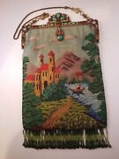Micro Beaded Scenic Purse With Exceptional Enamel Amp Jewel Frame 8x12 Antique