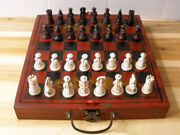 China Qing Dynasty Army Style 32 Bull-bone Pieces Chess Set And Leather Wooden Box