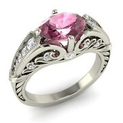 Certified Oval-cut Tourmaline And Real Diamond 14k White Gold Art Deco Look Ring