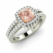 Certified Cushion Cut Morganite And Si Diamond 14k White Gold Halo Engagement Ring