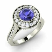 Certified 1.63 Ct Natural Tanzanite And Si Diamond 14k White Gold Engagement Ring
