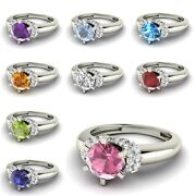 Certified G/si Diamond Engagement Ring With Real Birthstone In 14k White Gold