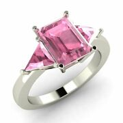 Certified 2.51 Cts Emerald Pink Tourmaline 14k Gold Three Stone Engagement Ring