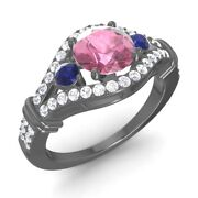Certified 1.66 Ct Natural Pink Tourmalinesapphire And Diamond 14k Black Gold Ring