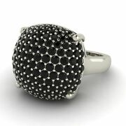 Certified Natural Black Diamond Sugar Stack Ring In 14k Solid White Gold 1.66 Ct