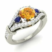 Certified 1.66 Ct Natural Citrine Blue Sapphire And Diamond 14k White Gold Ring