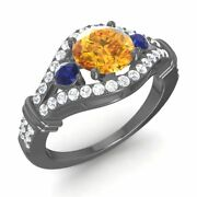 Certified 1.66 Ct Natural Citrine Blue Sapphire And Diamond 14k Black Gold Ring