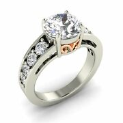 Certified 3.27 Ct Real White Topaz And Si Diamond Vintage Look 14k White Gold Ring