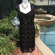 Connected Apparel Womens Black Glitter Overlay Cocktail Dress Size Petite 14