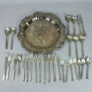 Silver Plated Silverware And Serving Tray Oneida Ornate, Antique