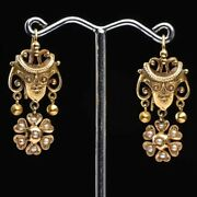 14 Karat Yellow Gold Drop Antique Earrings With Pearls