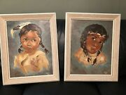 Original Mid Century Oil Paintings Two Signed