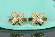 Vintage 1992 And Co 18k Solid Yellow Gold Diamond Signature X Cufflinks