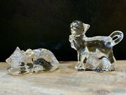 Lenox Crystal Cat Figurines Clear Paperweight Statues Approximately 3 Inches