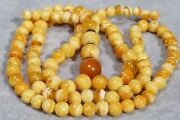 Antique Natural Baltic Amber Mala 108 Beads Rosary Necklace 26 Grams
