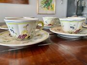 7 Longchamp Moustiers Tea Cup And Saucer Sets, Hand-painted France/ Vintage