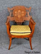 Antique Early 1900and039s Mahogany Marquetry Pearl Inlay Gold Accent Cerule Chair