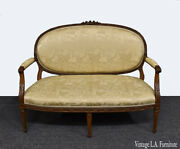 French 19th Century Louis Xvi Carved Gold Oriental Chinoiserie Settee Loveseat