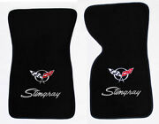 New Black Floor Mats 1968-1982 Chevy Corvette Embroidered Flags And Stingray Logo