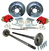 1965-69 Chevy C10 5 Lug Rear Disc Brake And Axle Conversion - Deluxe Red Caliper