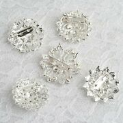 100 Pcs Silver Metal Assorted Brooches Floral Pins Rhinestones Party Decorations