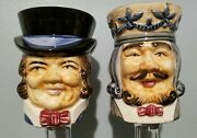 """Lot Of 2 Vintage Toby Style 5"""" Mugs Made In Occupied Japan Royal King Gentleman"""